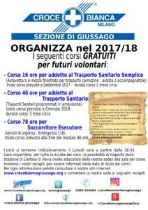 volantino corsi 2017 / 2018 Croce Bianca Giussago