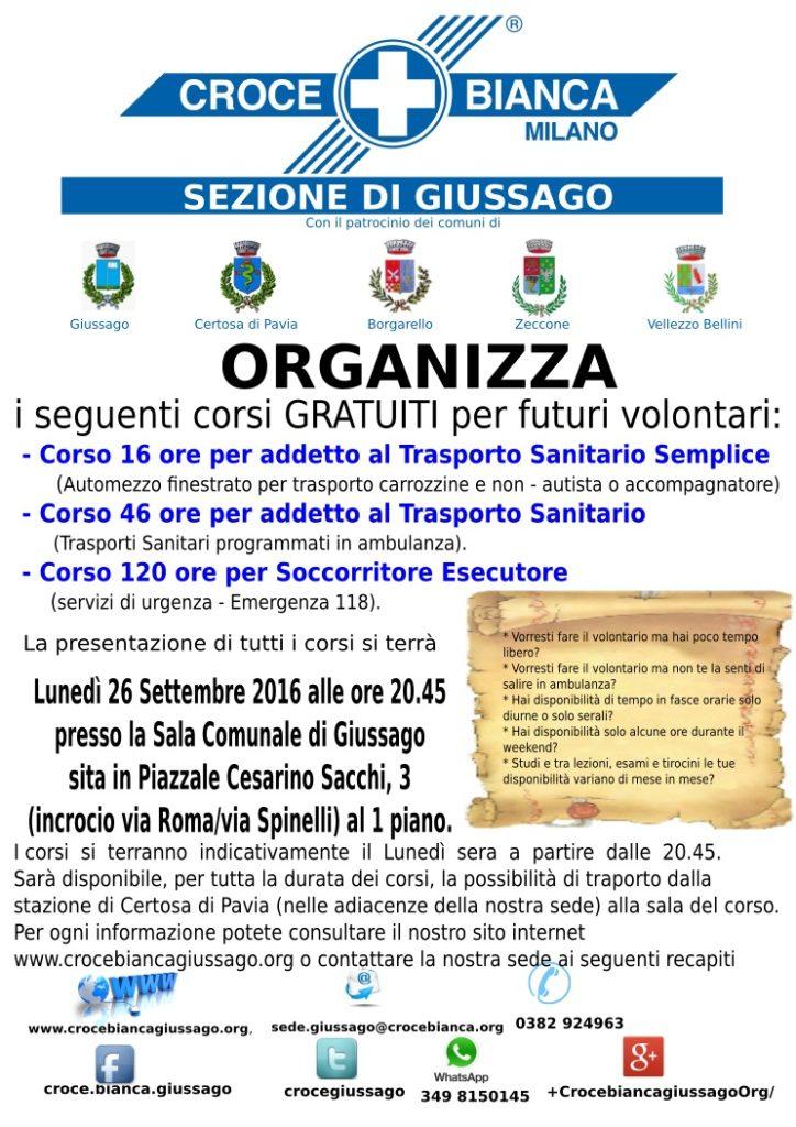 Inizio corso 2016 Croce Bianca Giussago