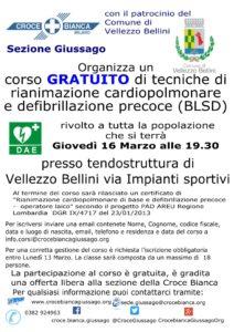 Corso defibrillatore gratuito Vellezzo Bellini ed.2