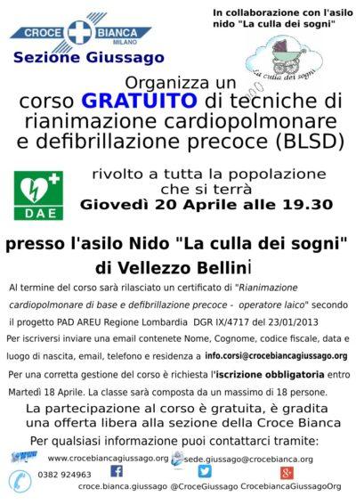 Corso gratuito PAd defibrillatore Vellezzo Bellini