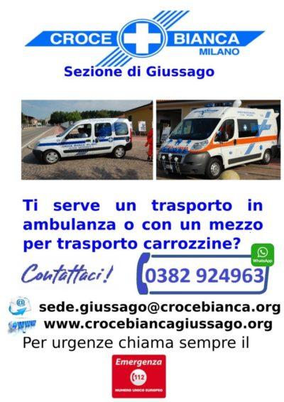 trasporto sanitario croce Bianca Giussago