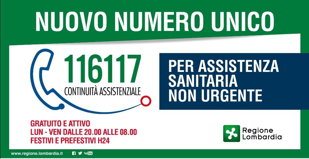 116117 numero unico Continuità assistenziale